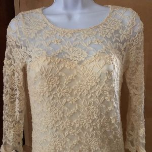 Cream lace dress with illusive neck